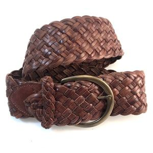 "Express NWT Brown Woven Leather 2"" Belt, Sz Small"